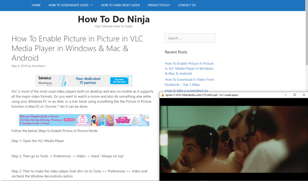 VLC picture in picture in Windows