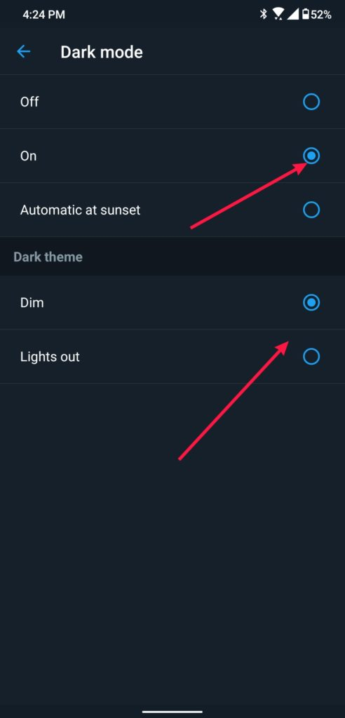 Twitter Dark Mode select